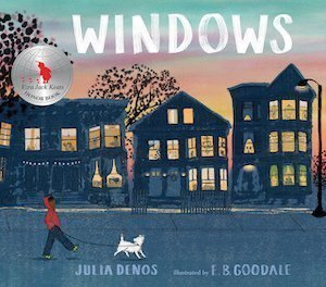 Book cover of girl walking past windows walking her dog.