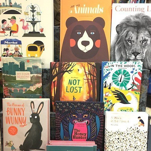 Book shop shelf of picture books